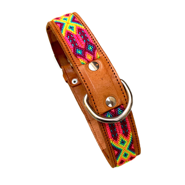 "Friendship Bracelet Style Leather Dog Collars From Guatemala - XLarge 20""- 24"""