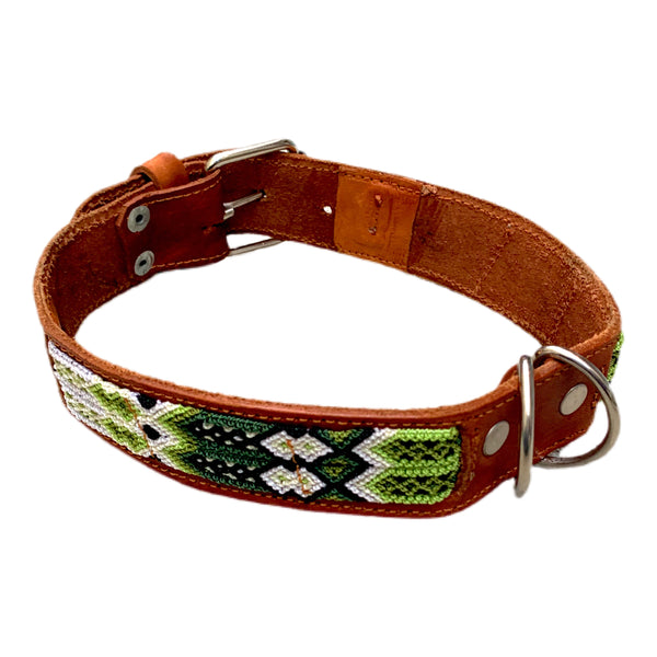 Green Friendship Bracelet Style Leather Dog Collars From Guatemala - Medium 16-19""