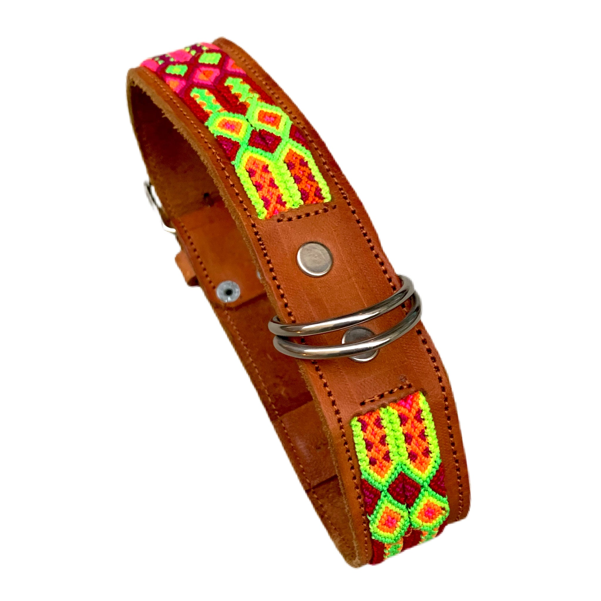 "Bright Neon Friendship Bracelet Style Leather Dog Collars From Guatemala - Medium 17""-20"""