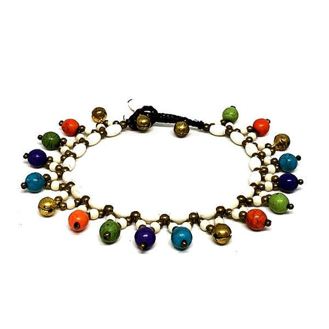Colorful Stone Bead and Macrame Ankle Bracelet