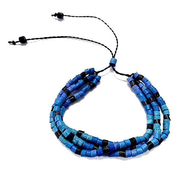 Blue, Aqua & Black Ceramic Bead 3 Strand Adjustable Bracelet