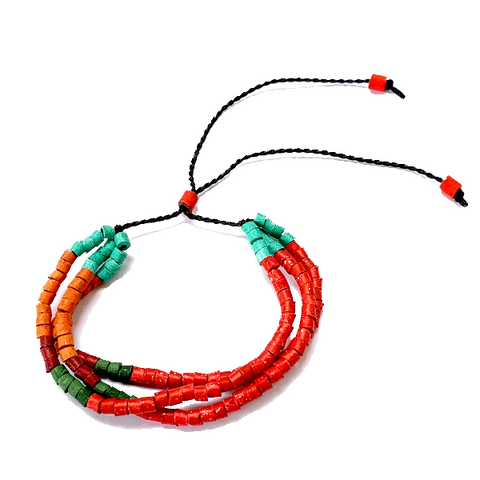 Red, Turquoise & Orange Ceramic Bead 3 Strand Adjustable Bracelet