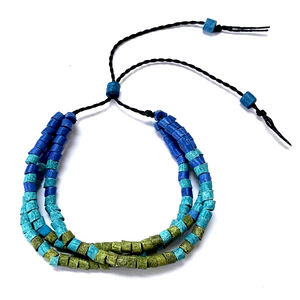 Cobalt, Turquoise & Green Ceramic Bead 3 Strand Adjustable Bracelet