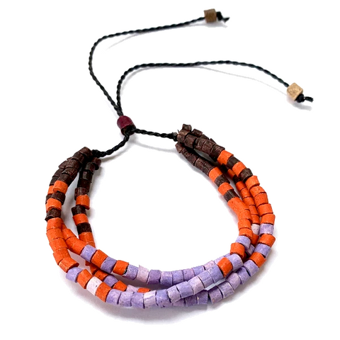 Brown, Orange & Lilac Ceramic Bead 3 Strand Adjustable Bracelet