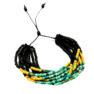 Black, Yellow & Turquoise Ceramic Bead 9 Strand Adjustable Bracelet