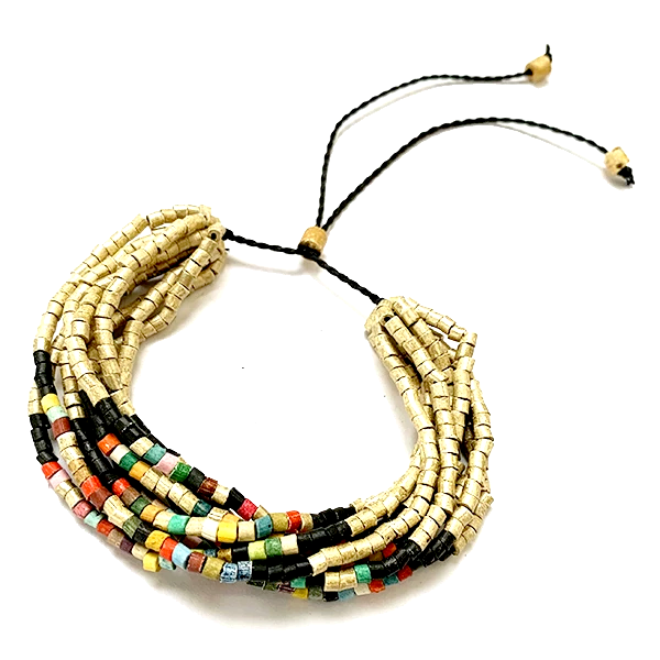 Gold, Black & Multi Color Ceramic Bead 9 Strand Adjustable Bracelet