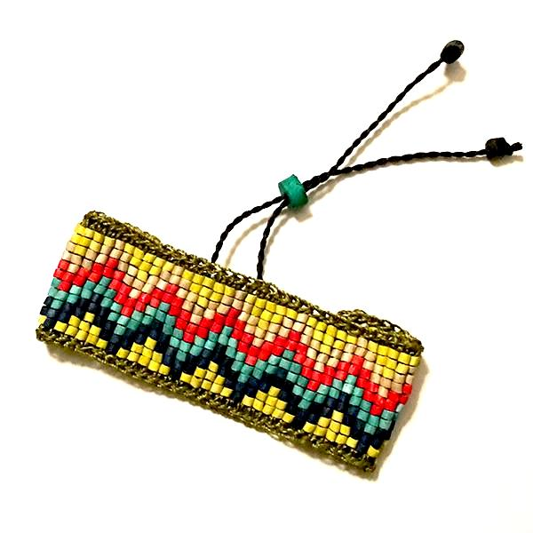 Green, Yellow, Red & Turquoise Ceramic Beaded Bracelet