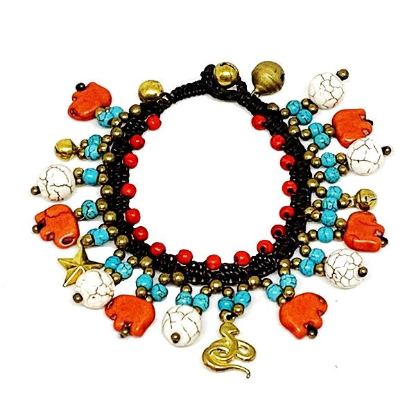 Red, Turquoise and Natural Stone Macrame Charm Bracelet