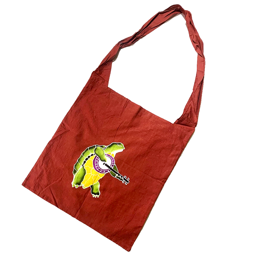 Burgundy Batik Terrapin Turtle Shopping Bag