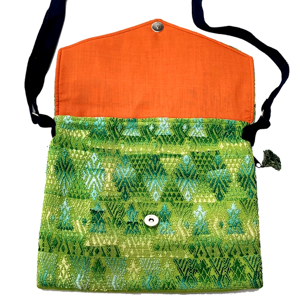 Green, Yellow & Turquoise Patterned Huipil Sling Bag from Guatemala