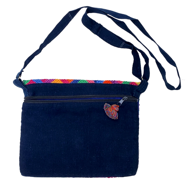 Green, Blue & Purple Patterned Huipil Sling Bag from Guatemala