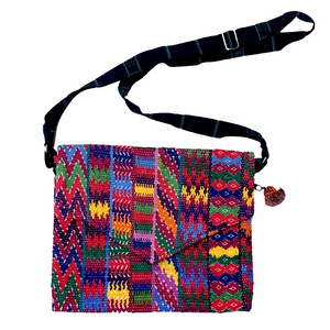 Colorful Pink Patterned Huipil Sling Bag from Guatemala