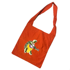 Tomato Red Batik Terrapin Turtle Shopping Bag