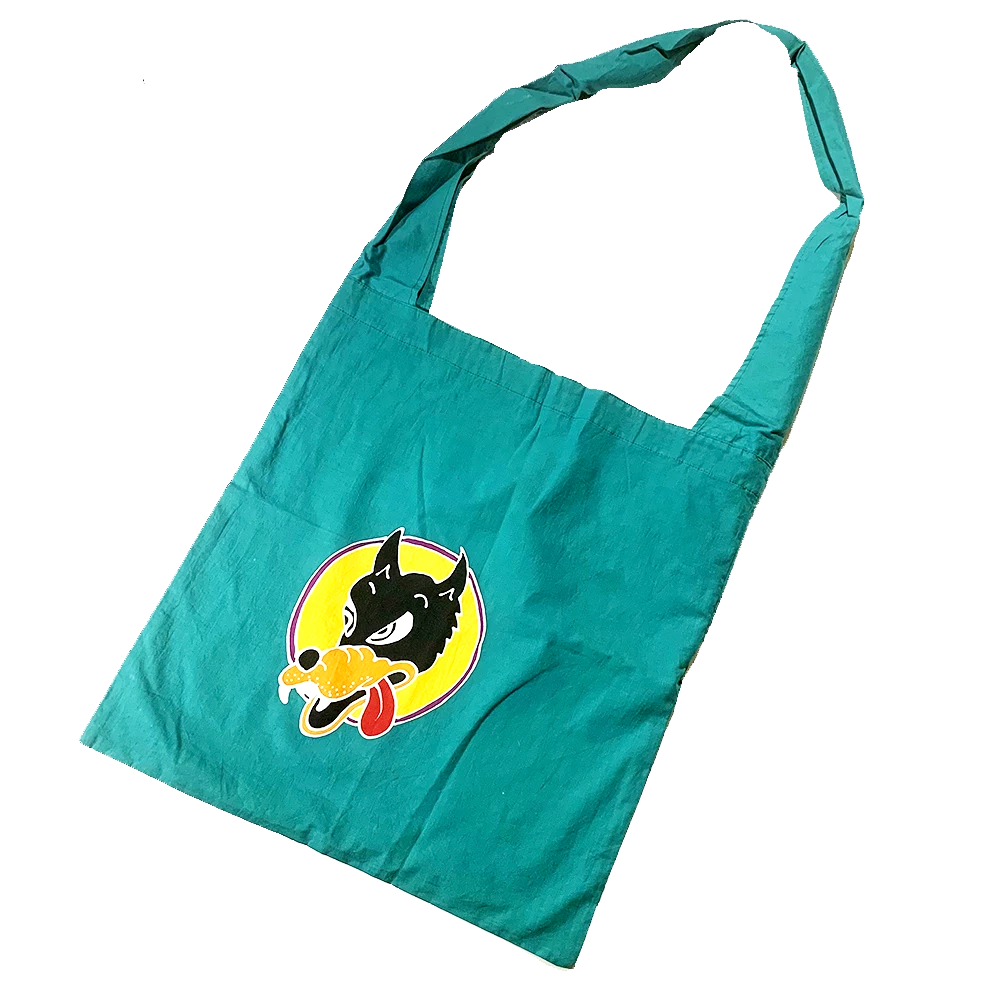 Teal Green Batik Wolf Shopping Bag