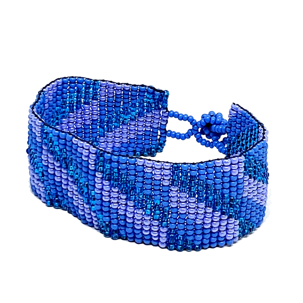 Blue, Teal and Lavender Maya Glass Seed Bead Bracelet