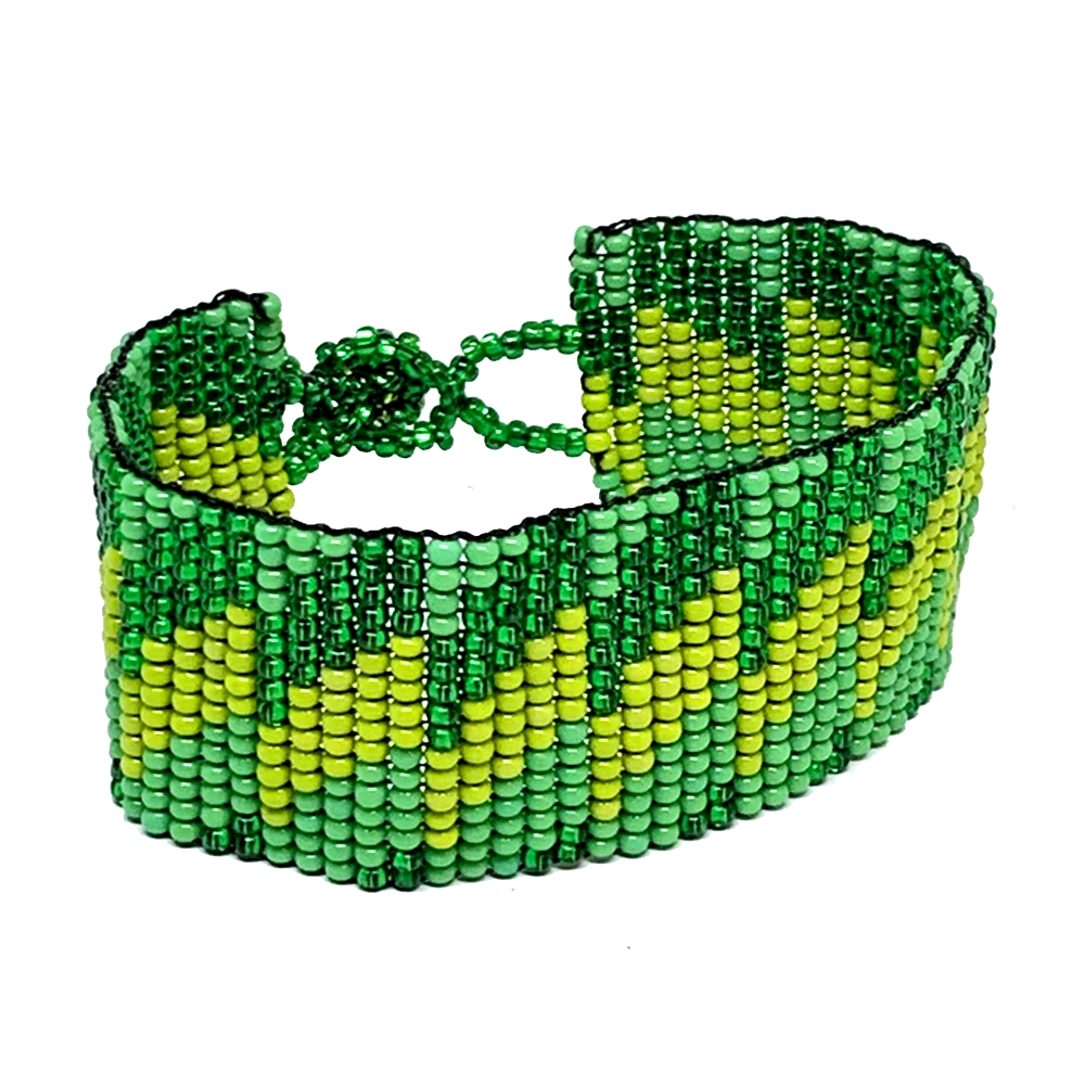 Shades Of Green Maya Glass Seed Bead Bracelet