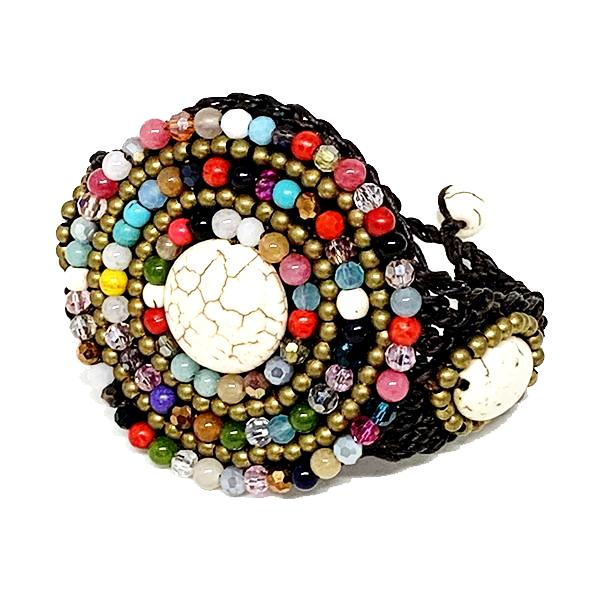 Colorful Multi-stone and Natural Stone Macrame Cuff Bracelet