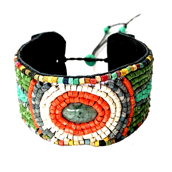 Turquoise, Green & Orange Ceramic Beaded Leather Cuff Bracelet with Jade