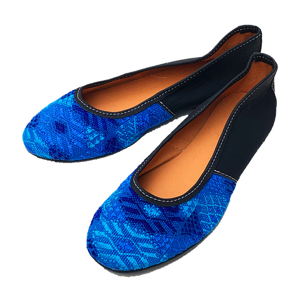 Handmade Vintage Bright Blue Huipil with Faux Leather Ballet Flats