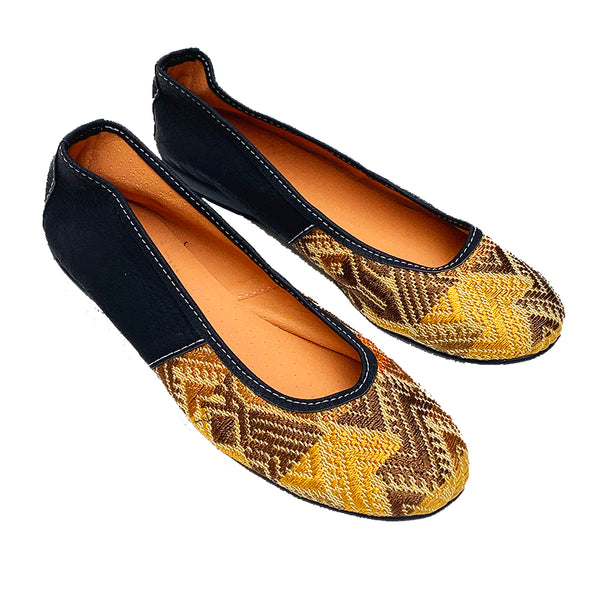 Handmade Vintage Gold Huipil with Faux Leather Ballet Flats