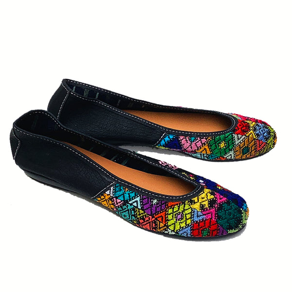 Handmade Vintage Multi-Color Huipil with Faux Leather Ballet Flats