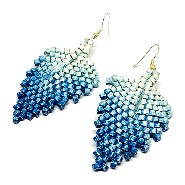 Blue Ombre Ceramic Beaded Leaf Earrings