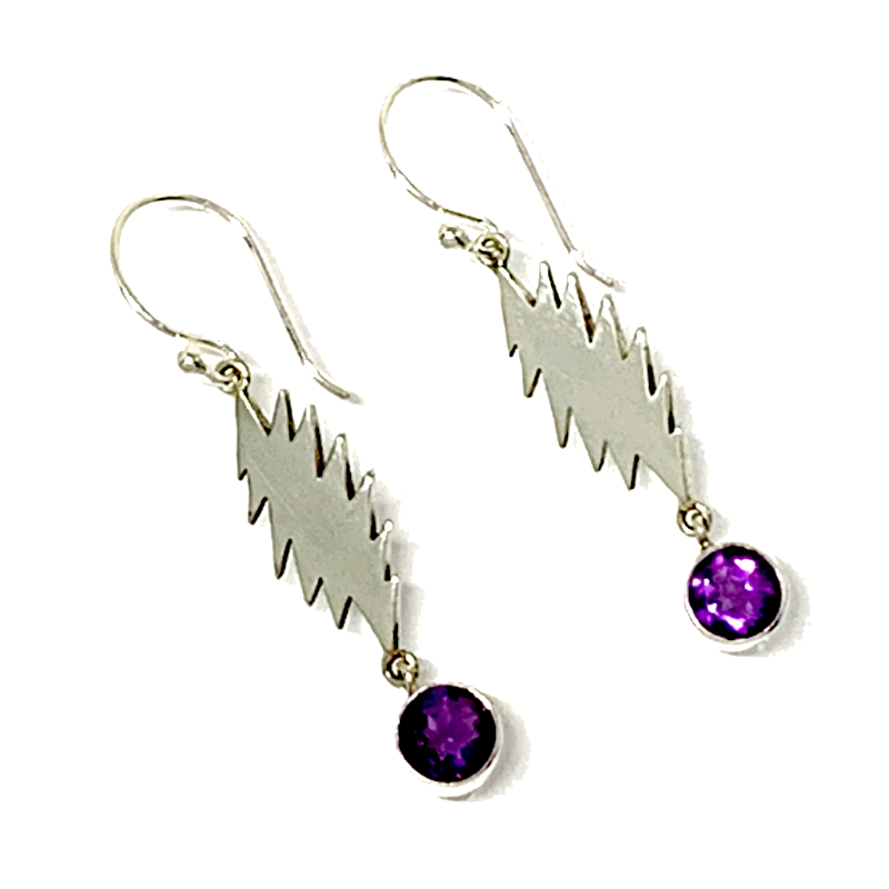 13 Point Bolt Earrings Cast In Sterling Silver with Round Faceted Amethyst Stone Drops