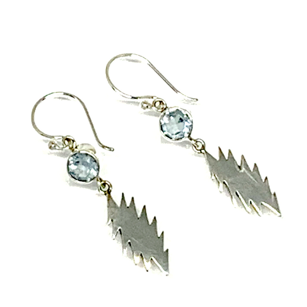 13 Point Bolt Earrings Cast In Sterling Silver with Faceted Blue Topaz Stones