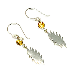 13 Point Bolt Earrings Cast In Sterling Silver with Faceted Citrine Stones