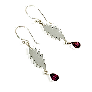 13 Point Bolt Earrings Cast In Sterling Silver with Faceted Garnet Stone Drops