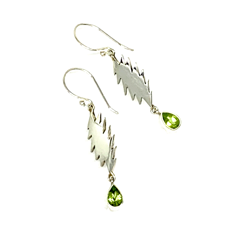 13 Point Bolt Earrings Cast In Sterling Silver with Faceted Peridot Stone Drops