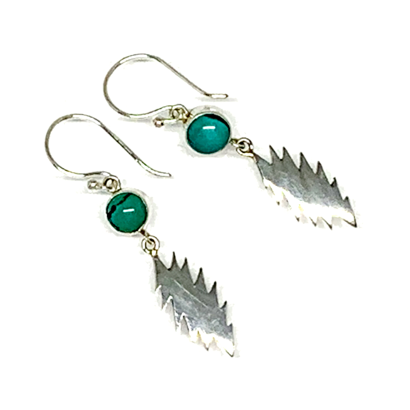 13 Point Bolt Earrings Cast In Sterling Silver with Turquoise Stones