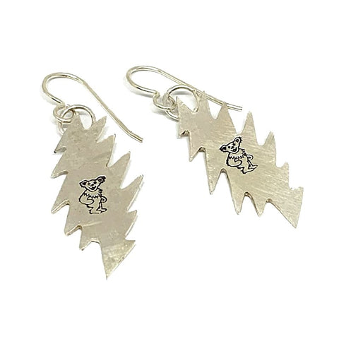 Handmade Sterling Silver Bolt & Dancing Bear Earrings