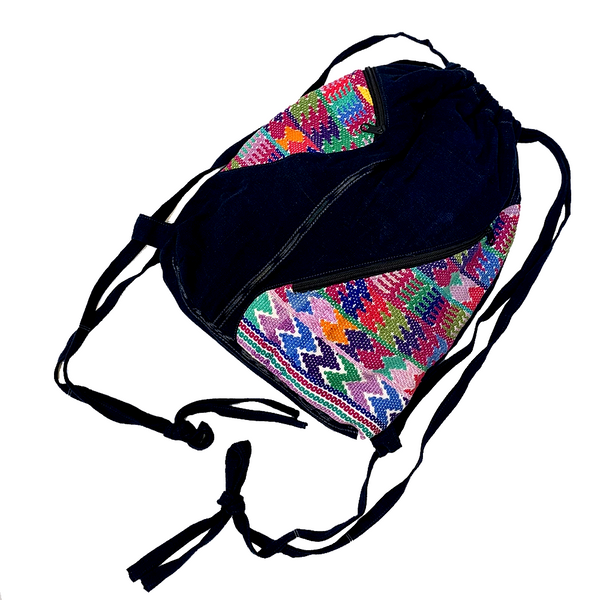 Huipil & Indigo Fabric Backpack with Adjustable Straps