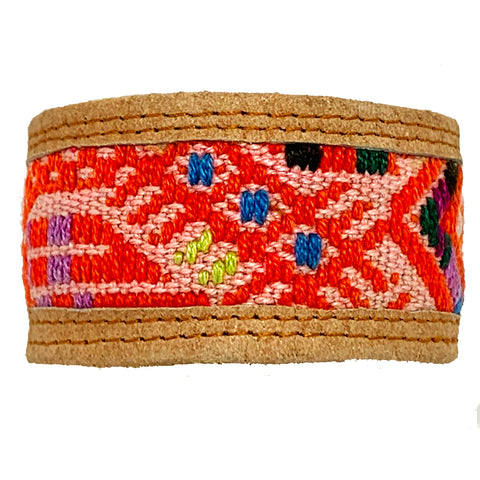 Red Geometric Pattern Huipil and Leather Cuff Bracelet