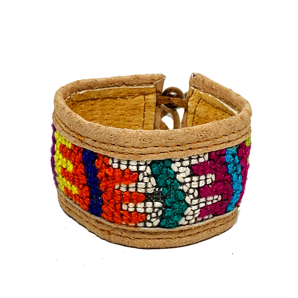 Rainbow Abstract Pattern Huipil and Leather Cuff Bracelet