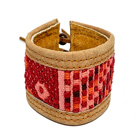 Red & Pink Huipil and Leather Cuff Bracelet