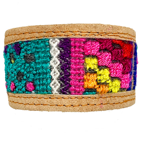 Colorful Patterned Huipil and Leather Cuff Bracelet