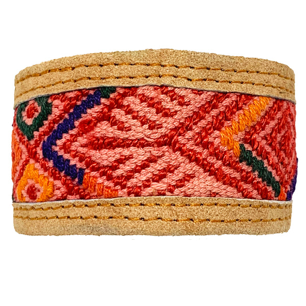 Pink & Red Geometric Pattern Huipil and Leather Cuff Bracelet