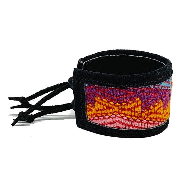 Colorful Pattern Huipil and Black Leather Cuff Bracelet