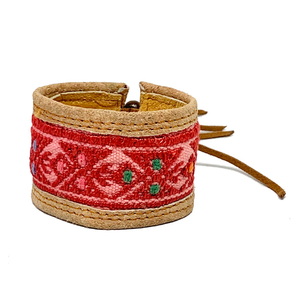 Red Bird Pattern Huipil and Leather Cuff Bracelet