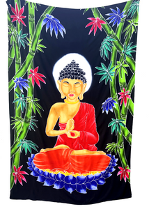Buddha Batik Tapestry with Black Background - 4x6 Feet!