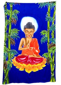 Buddha Batik Tapestry with Blue Background - 4x6 Feet!