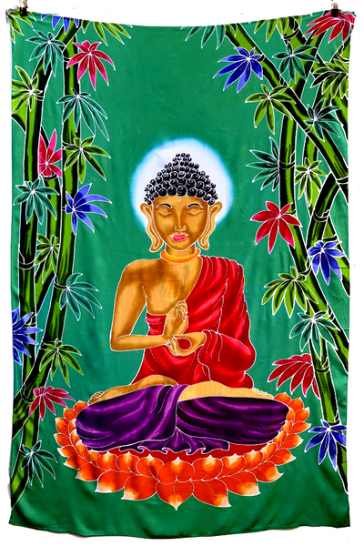 Buddha Batik Tapestry with Green Background - 4x6 Feet!