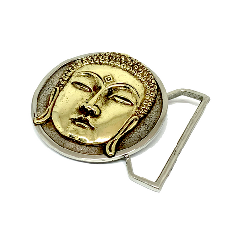 Buddha Belt Buckle Cast in Yellow & White Brass by 100mics