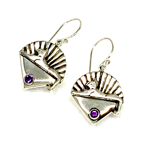 Cats Earrings Cast In Sterling Silver with Faceted Amethyst Stones