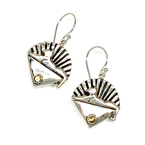 Cats Earrings Cast In Sterling Silver with Faceted Citrine Stones