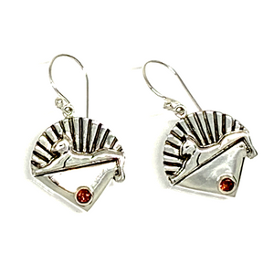 Cats Earrings Cast In Sterling Silver with Faceted Garnet Stones