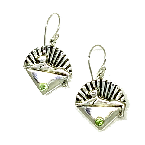Cats Earrings Cast In Sterling Silver with Peridot Stones