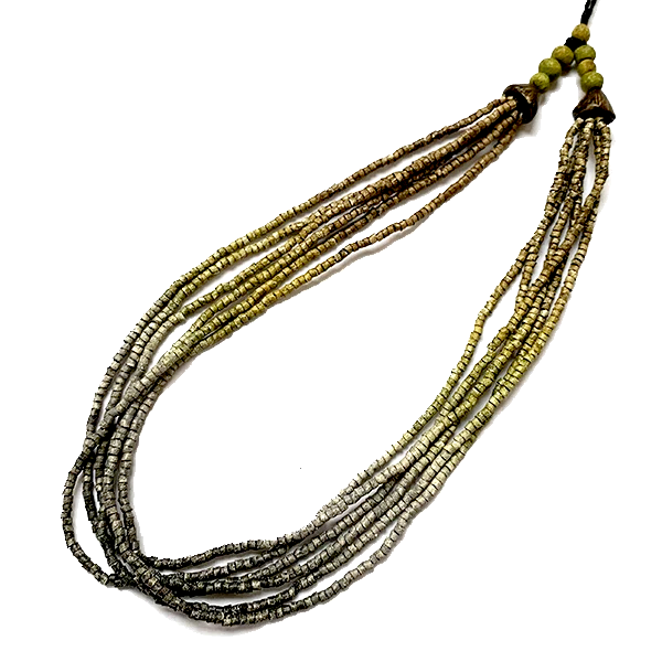 Ombre Khaki, Grey to Charcoal Ceramic Bead 6 Strand Adjustable Choker Necklace